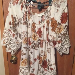 Boho style, 3/4 sleeve, neutral colors blouse, 1x